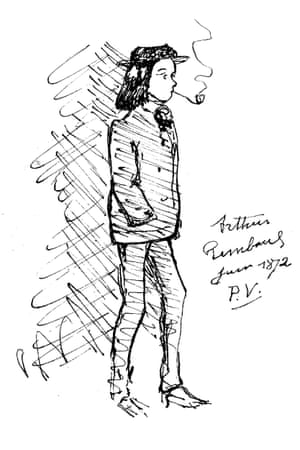 Paul Verlaine's sketch of Arthur Rimbaud smoking a pipe in 1872.