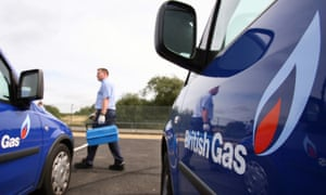 a British Gas engineers and two British Gas-branded vehicles