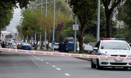Police cordon off the area in front of Al Noor mosque after the shooting