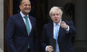 Leo Varadkar (left) with Boris Johnson in Dublin