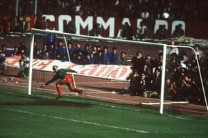 Bruce Grobbelaar watches as a Roma penalty sails over the bar during the shootout