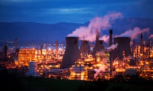 Grangemouth oil refinery where the Forties pipeline system terminates.