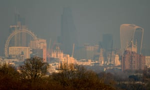 London's smoggy skyline seen from Richmond park, January 2016.