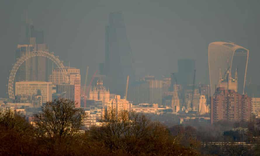 London's smoggy skyline seen from Richmond park, January 2016.