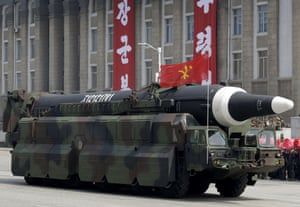 An unidentified missile that analysts believe could be the North Korean Hwasong-12 being paraded in Pyongyang last month.