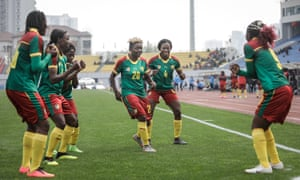 Cameroon players celebrate a goal against Croatia during the 2019 Wuhan International Tournament in April.