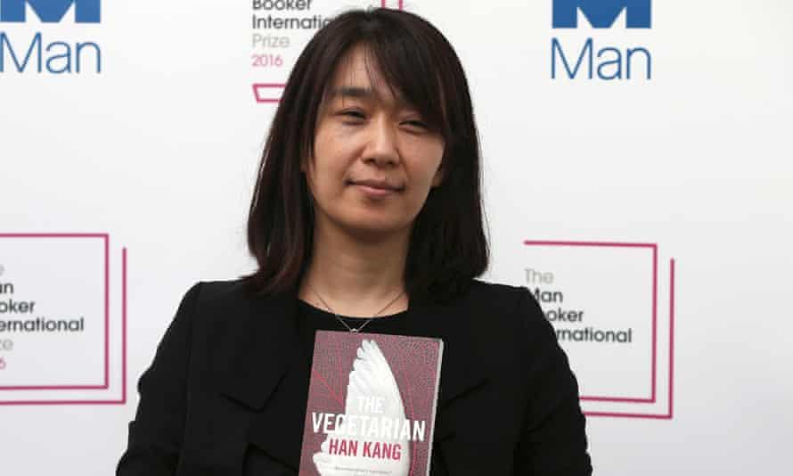 Han Kang with her Man Booker International Prize-winning novel The Vegetarian