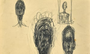 A detail from one of the pencil sketches by Giacometti