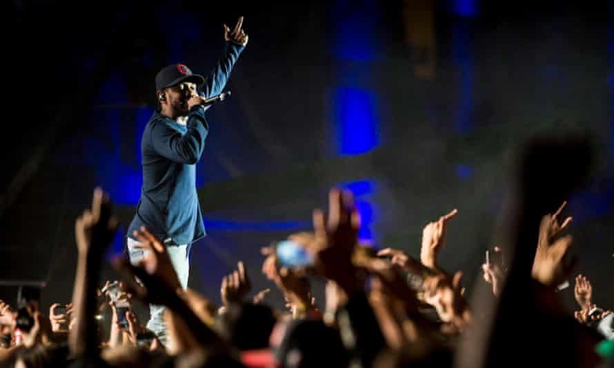 Kendrick Lamar performs on stage