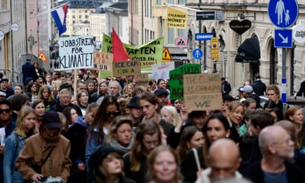 Protesters in Stockholm, Sweden, take part in last week's global climate strike