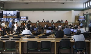 The trial at Rebibbia jail.
