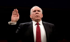 John Brennan is sworn in to testify before the House intelligence committee, in May 2017.
