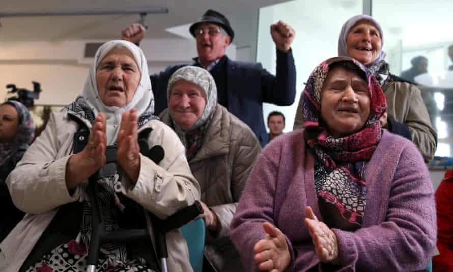 People react after the verdict on Karadžić's appeal.