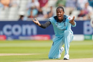 England's Joffra Archer celebrates dismissing Aaron Finch for a golden duck.
