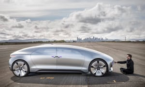 ars electronica researcher christopher lindinger with mercedes f015 robot car prototype