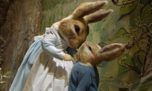 Peter Rabbit and his mother at the World Of Beatrix Potter attraction.