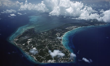An aerial view of Grand Cayman, showing West Bay at the top centre of the image.