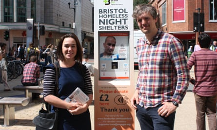Kathryn Lacy, left, beside one of the Rough Sleeping Partnership's contactless terminals