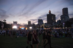 The Sydney skyline made made for a beautiful backdrop at twilight as fans awaited The Flaming Lips.