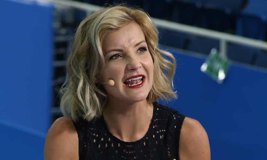 Helen Skelton presenting swimming coverage on the BBC from the 2016 Olympic Games.