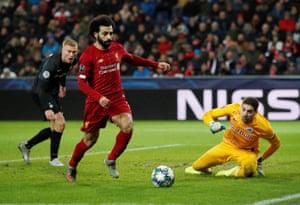 Mohamed Salah controls the ball before setting up Mane.