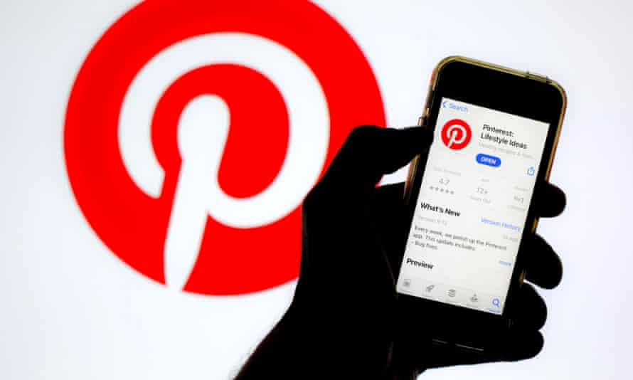 A Pinterest logo displayed on a smartphone screen