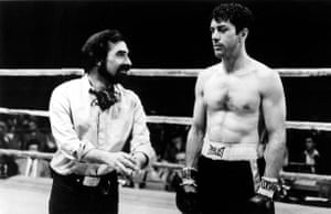 Martin Scorsese on set with Robert de Niro during the filming of Raging Bull.