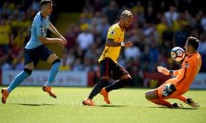 Roberto Pereyra scores Watford's first goal against Newcastle.