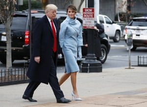 President-elect Donald Trump and his wife Melania arrives for a church service at St. John's Episcopal Church