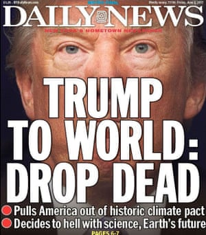 Daily News, USA. Front pages following Trump climate decision