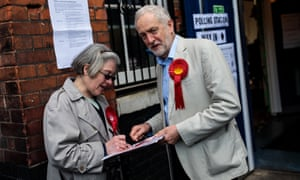 Jeremy Corbyn speaks to party activist Ann Devine as he arrives to vote in the local elections. Labour did well in areas where it is already strong – those with many young people, graduates and ethnic minorities, and in cities.