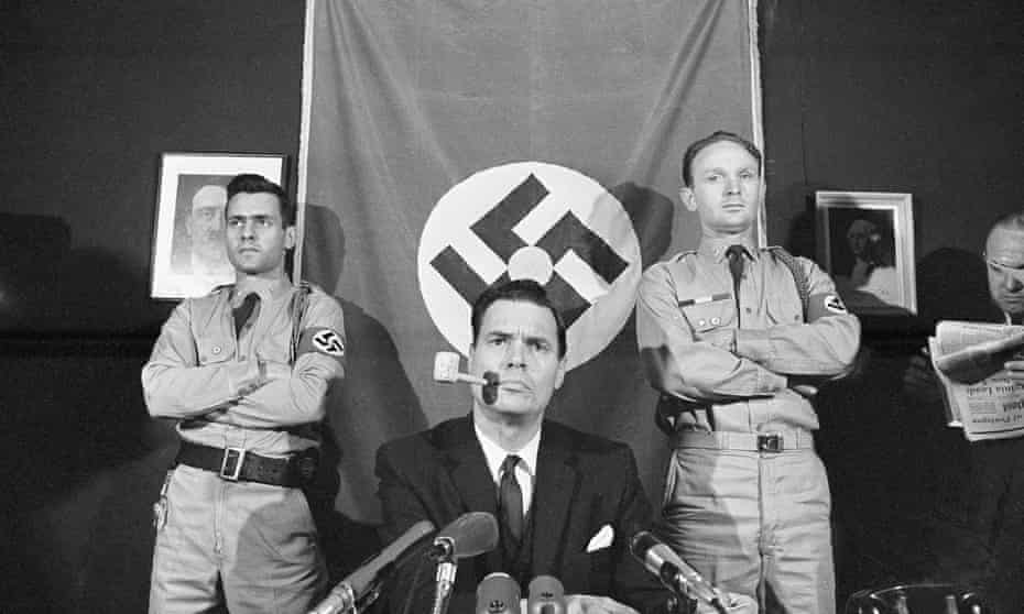 George Lincoln Rockwell, leader of the American Nazi Party holds a news conference in Arlington, Virginia, in 1965.