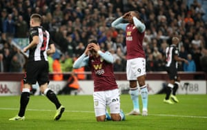 Anwar El Ghazi reacts after a missed chance for Villa.