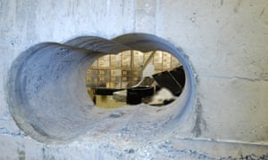 A Met Police image of the hole drilled in the wall at Hatton Garden Safe Deposit over Easter 2015.