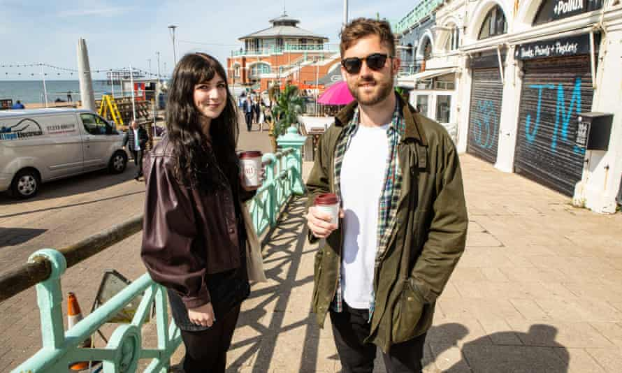 Harriet Ward and Tristan Swoffer, on the seafront