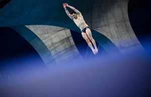 Ireland's Oliver Dingley in action during the men's three-metre springboard preliminary round.