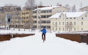 A cyclist travels through in Joensuu
