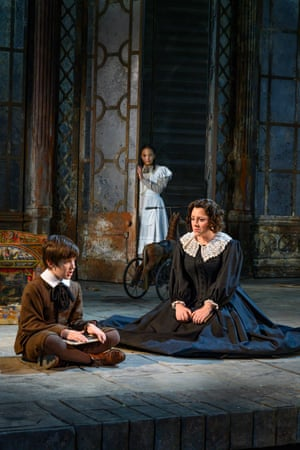 Leo Jemison (Miles), Adrianna Forbes-Dorant (Flora) and Sophie Bevan (Governess) in Garsington Opera's The Turn of the Screw.