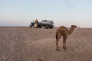 Private companies bring water to sell to al-Rashayda residents