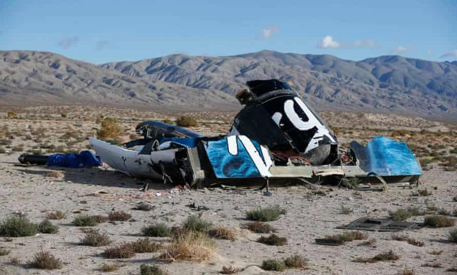 The crash site of Virgin Galactic's SpaceShipTwo near near Cantil, California.