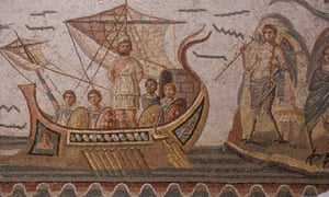 An ancient Roman mosaic of Odysseus on his ship