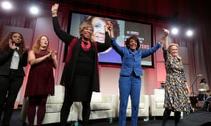 Congresswomen Maxine Waters, Brenda Lawrence and Debbie Dingell during the Women's Convention in Detroit, Michigan on 28 October 2017.