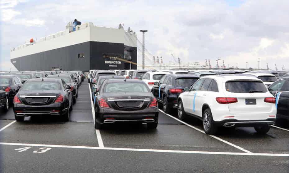 Mercedes-Benz cars at the port of Bremerhaven.