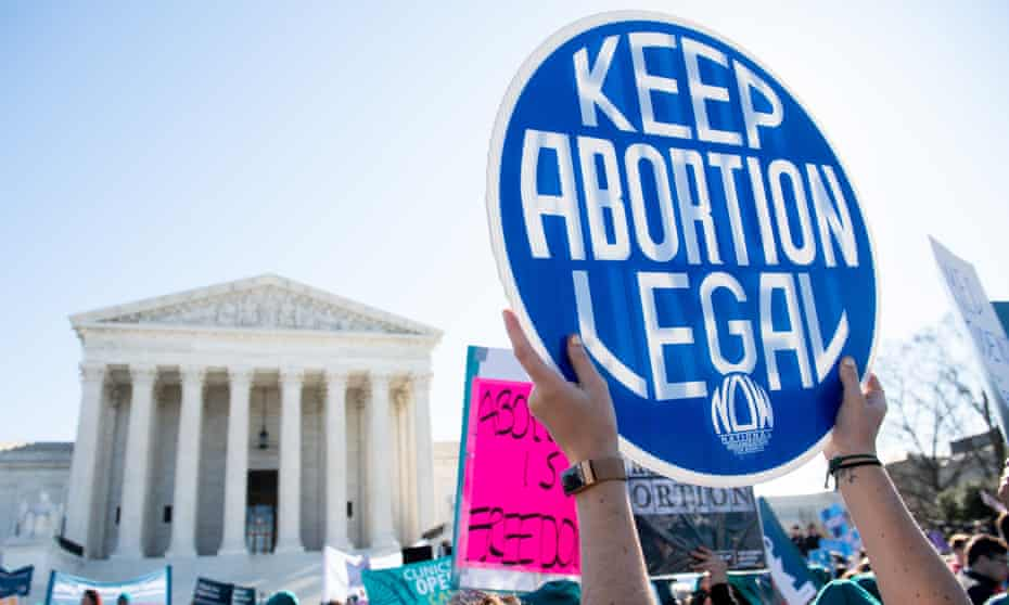 Activists supporting legal access to abortion protest outside the US Supreme Court.