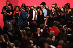 Jeremy Corbyn is congratulated after making his keynote speech.