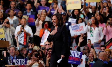 Kamala Harris holds her first organizing event in Los Angeles last month.