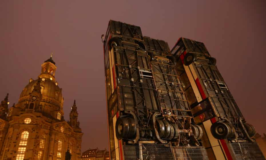 The Monument installation by Manaf Halbouni in Dresden