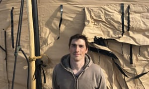 Jake Pogue, a 32-year-old marine corps vet, returned to the Sacred Stone camp on Friday.