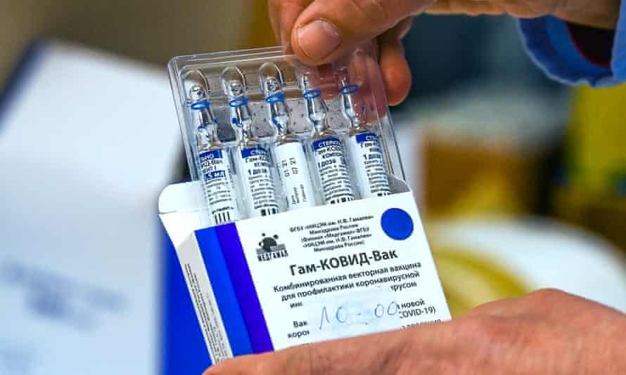 Vials of the Russian Sputnik V vaccine