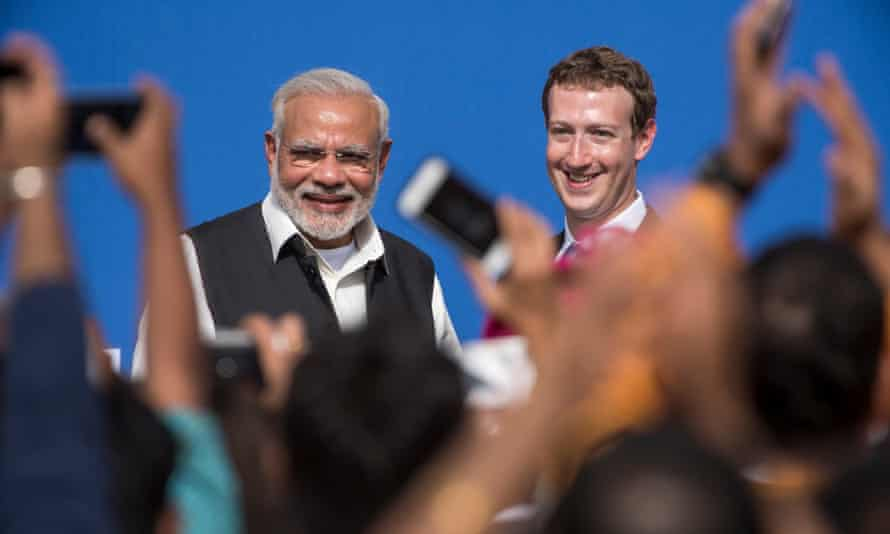 The Indian prime minister, Narendra Modi, meets with Mark Zuckerberg in California.